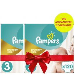 Pampers Premium Care Πάνες Μέγεθος 3 (Midi) 5-9 kg, 120 Πάνες (2 ΤΕΜΑΧΙΑ -24€)