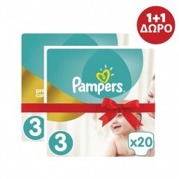 Pampers Premium Care Πάνες Μέγεθος 3 (5-9kg), 20 Πάνες 1+1 ΔΩΡΟ