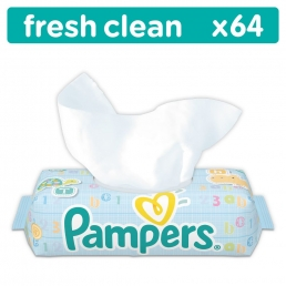 Μωρομάντηλα Pampers Baby Wipes Fresh Clean Οικονομική Συσκευασία 64 τεμ.