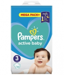 PAMPERS ACTIVE BABY MEGA PACK  ΜΕΓ 3 (6-10 kg), 152 ΠΑΝΕΣ