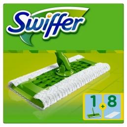Swiffer Σύστημα Καθαρισμού ( Σκούπα + 8 Πανάκια που 'παγιδεύουν' τη σκόνη- για Πάτωμα)
