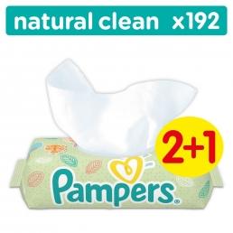 Μωρομάντηλα Pampers Baby Wipes Natural Clean Χωρίς Άρωμα Συσκευασία 64 τεμ. (2 + 1 συσκ. Δώρο)