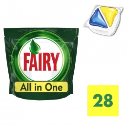 Fairy All in One Λεμόνι Ταμπλέτες Πλυντηρίου Πιάτων 28 ανά συσκευασία