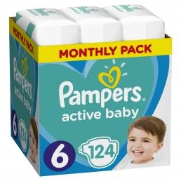 Pampers Active Baby Πάνες Μέγεθος 6 (13-18 kg), 124 Πάνες
