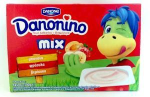 Danone Danonino Φράουλα-Μπανάνα-Βερύκοκο 6X50gr
