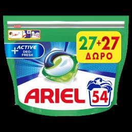 Ariel Allin1 PODs +Active Deo Defense Κάψουλες Πλυντηρίου - 54 Κάψουλες (27+27 δώρο)