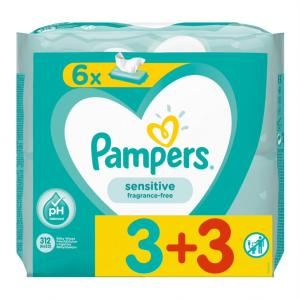 PAMPERS WIPES SENSITIVE 2x6x52 (3+3)