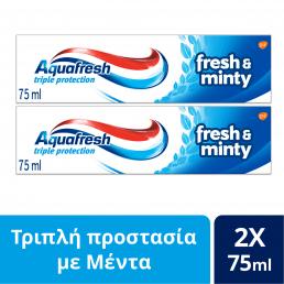 AQUAFRESH FRESH & MINTY ΟΔΟΝΤΟΚΡΕΜΑ DUOPACK 2x75ml